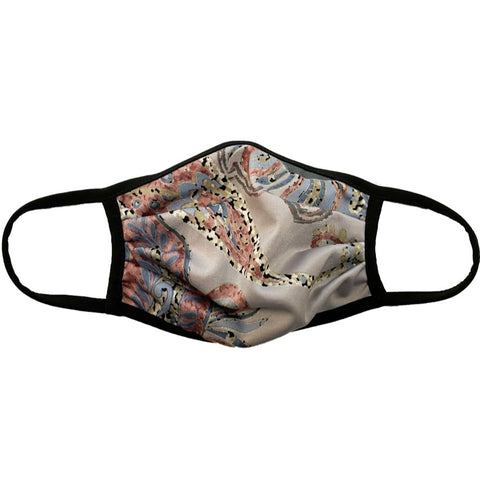 Cloth Fashion Mask Paisley Print - Mauve/Multicolor