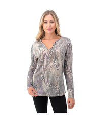Ariella V-Neck Long Sleeve Top - Animal Print