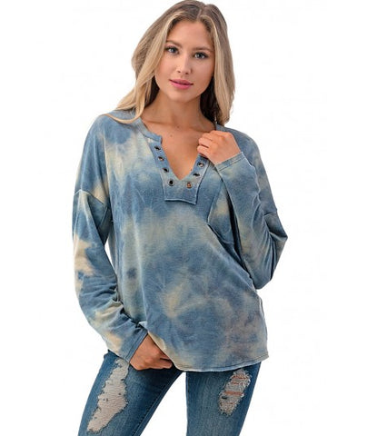 Ariella Grommet Placket Tie Dye Top - Blue/Multicolor