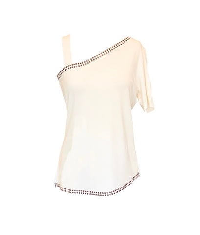 AZI Stud Trim Drop Shoulder Short Sleeve Top - Off White