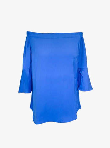 AZI Off-Shoulder Bell Sleeve Top - Blue