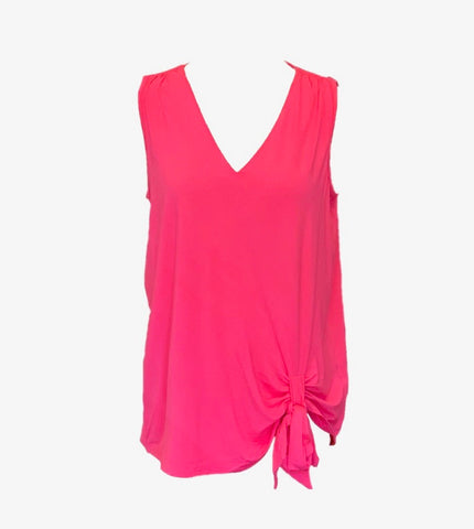AZI Sleeveless V-Neck Knot Front Top - Hot Pink
