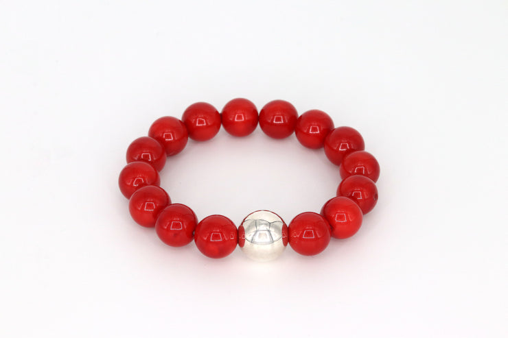 Simon Sebbag Designs - Red Stretch Bracelet with Sterling Silver Bead