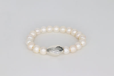 Simon Sebbag Designs - Pearl Stretch Bracelet with Sterling Silver Bead