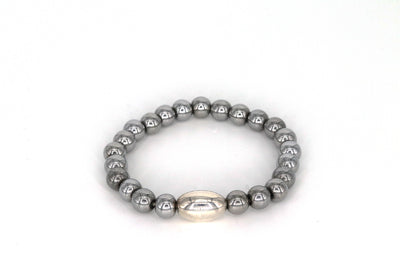 Simon Sebbag Designs - Hematite Stretch Bracelet with Oblong Sterling Silver Bead