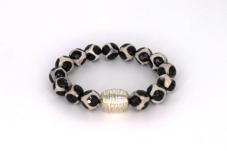 Simon Sebbag Designs - Tortoise Agate Stretch Bracelet with Textured Sterling Silver Bead