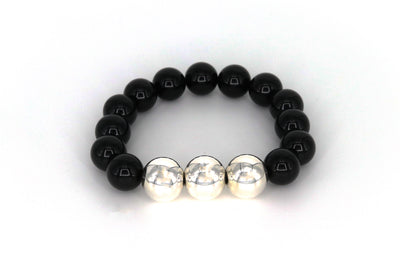 Simon Sebbag Designs - Black Onyx Stretch Bracelet with Sterling Silver Beads