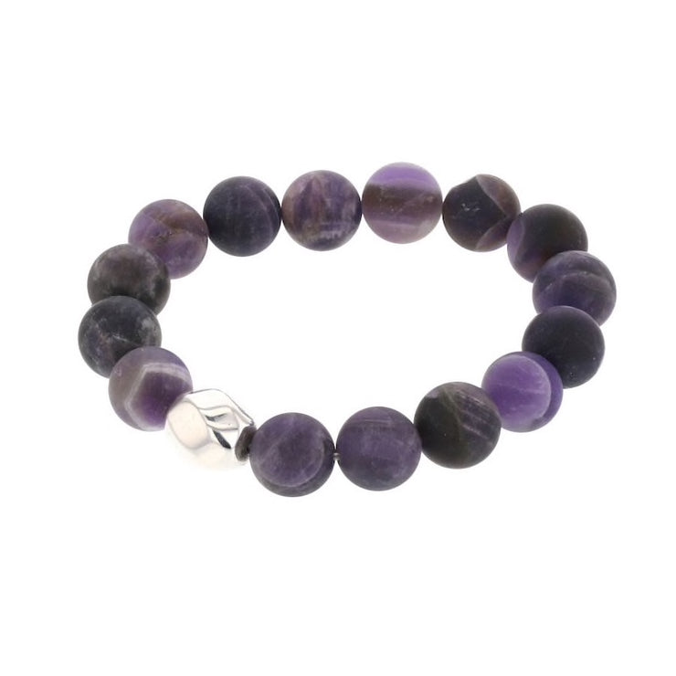 Simon Sebbag Designs - Matte Amethyst Stretch Bracelet with Sterling Silver Bead