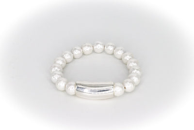 Simon Sebbag Designs - White Shell Stretch Bracelet with Sterling Silver Bar