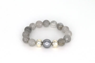 Simon Sebbag Designs - Natural Grey Stone Stretch Bracelet with Sterling Silver Beads