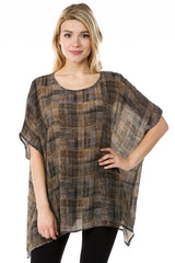APNY Soft Kaftan Top - Brown/Multicolor