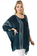 APNY Short Kaftan Top - Teal/Print