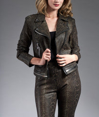 Insight New York Vegan Leather Moto Jacket - Python/Cheetah Print