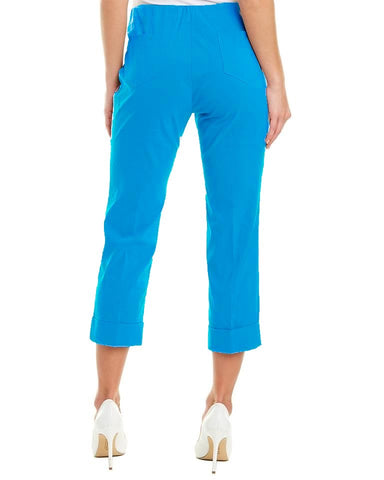 Insight New York Cuffed Stretch Techno Crop Pant - Lagoon Blue