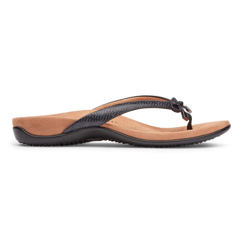 Vionic Bella II Toe Post Sandal - Black Snake-Print