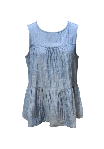BeachLunchLounge Lee Babydoll Tiered Sleeveless Cotton Top - Indigo Chambray