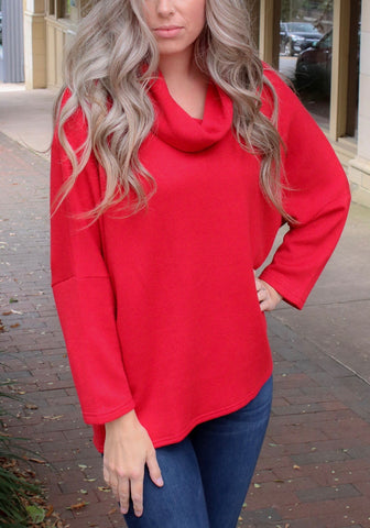 Boho Chic Cowl Neck Dolman Sleeve Button Back Sweater - Red
