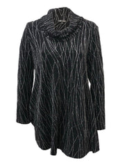 Boho Chic Metallic Brocade Cowl Neck Back Button Tunic - Black/Silver