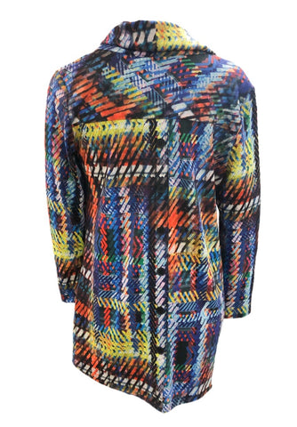Boho Chic Cowl Neck Geometric Print Button Back Tunic - Blue/Multicolor