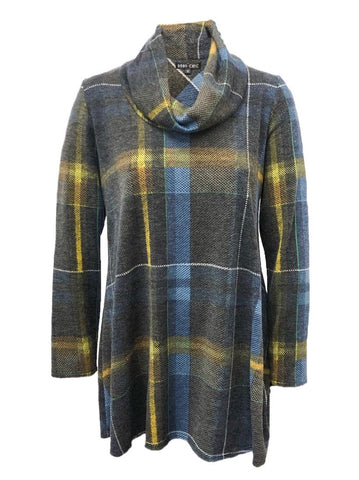 Boho Chic Cowl Neck Plaid Tunic - Grey/Blue/Yellow