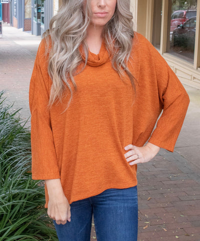 Boho Chic Cowl Neck Dolman Sleeve Button Back Sweater - Orange