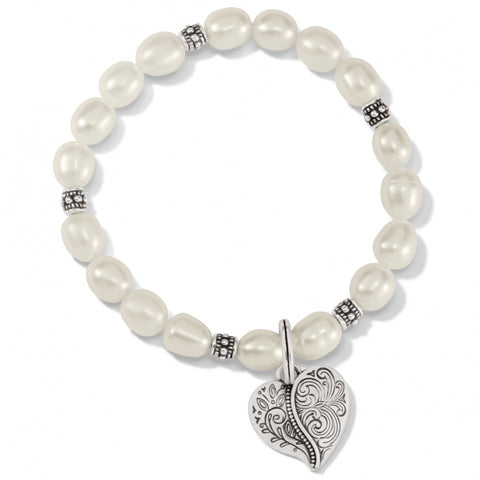 Brighton Collectibles Ornate Heart Pearl Stretch Bracelet - Silver