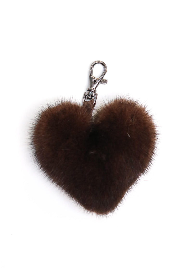 Mink Fur Heart-Shaped Keychain - Brown