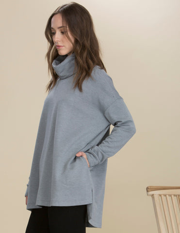 Capote Relaxed Turtle Neck Tunic with Pockets - Blue