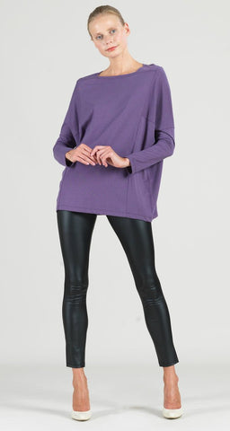 Clara Sunwoo Modal Cotton Knit Boat Neck Dolman Sleeve Tunic - Plum