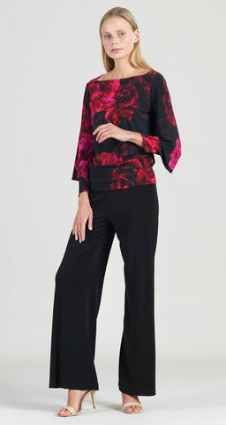 Clara Sunwoo Peony Print Rectangular Boat Neck Peekaboo Cuff Top - Red/Black