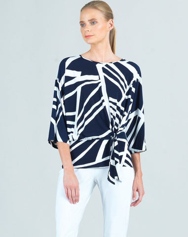 Clara Sunwoo Zig Zag Side Tie Top - Navy/White