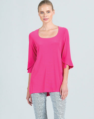 Clara Sunwoo Tulip Sleeve Scoop Neck Top - Pink