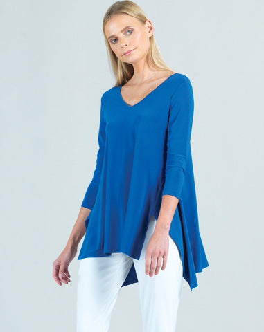 Clara Sunwoo V-Neck Side Vent Tunic - Dazzling Blue