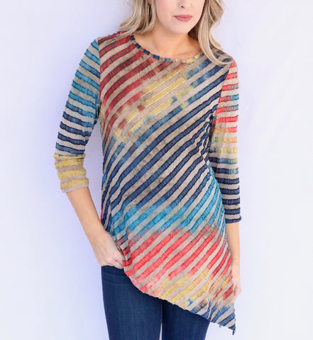Adore Apparel Rainbow Stripe Angle Hem Top - Multicolor