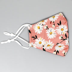 Double Layer Cotton Fashion Mask - Coral/Daisy Print