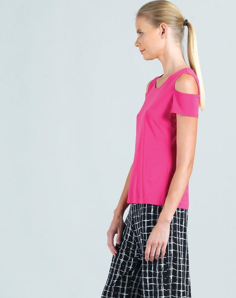 Clara Sunwoo Short Sleeve Cold Shoulder Top - Fuschia