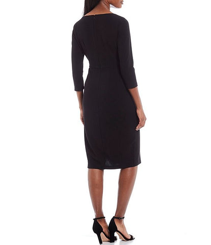 Donna Morgan 3/4 Sleeve Boat Neck Dress - Black