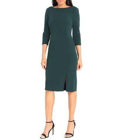 Donna Morgan 3/4 Sleeve Boat Neck Dress - Green
