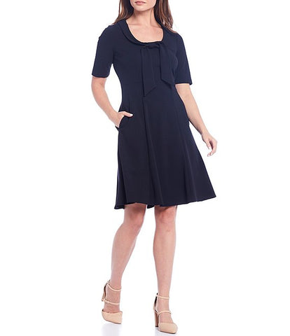 Donna Morgan Short Sleeve Tie Neck Dress - Navy