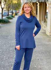 Pure Essence Bamboo Terry Athleisure Tunic & Pant Set - Indigo