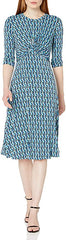 Donna Morgan 3/4 Sleeve Knot Front Midi Dress - Blue Print