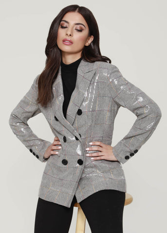 Dolce Cabo Sequin Double Breasted Blazer - Grey