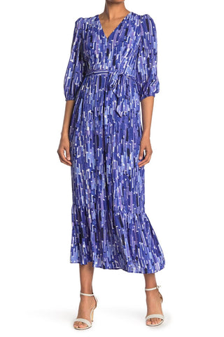 Donna Morgan V-Neck Maxi Dress - Royal/Print