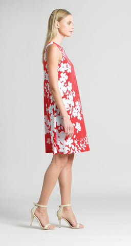Clara Sunwoo Floral Vine Print Jewel Neck Swing Dress - Coral/White