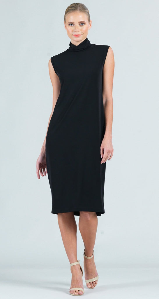 Clara Sunwoo Sleeveless Mock Neck Dress - Black