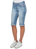 "Image of Democracy ""Ab""solution Cuffed Denim Bermuda Short - Light Blue"