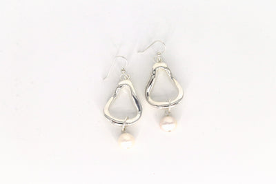 Simon Sebbag Designs - Sterling Silver Abstract Hoop Earring with Pearl Drop
