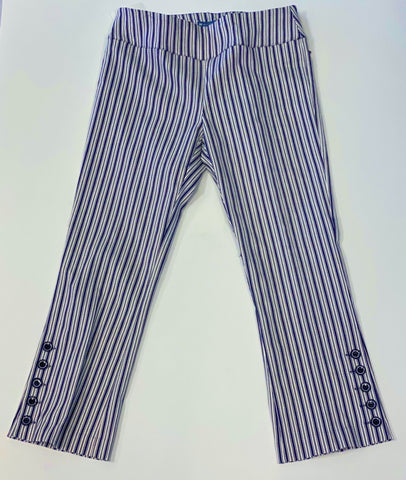 Elliott Lauren Striped Flare Leg Crop Pant with Button Detail - Navy/White
