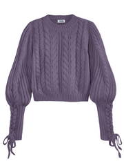 525 America Cable Knit Braided Tie Sleeve Sweater - Violet