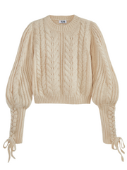 525 America Cable Knit Braided Tie Sleeve Sweater - Cream